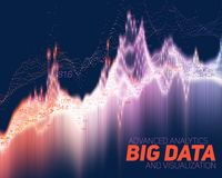 Vector abstract big data visualization. Futuristic infographics aesthetic design. Visual information complexity. Intricate data threads graphic. Social network Stock Photography