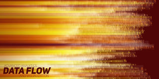 Vector abstract big data visualization. Orange flow of data as numbers strings. Information code representation. Royalty Free Stock Photo