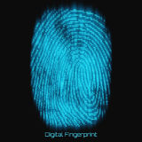 Vector abstract binary representation of fingerprint. Cyber thumbprint blue pattern composed of numbers with glow. Royalty Free Stock Image