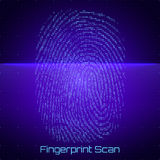 Vector abstract binary representation of fingerprint scan. Cyber thumbprint blue pattern composed of numbers. Stock Photo