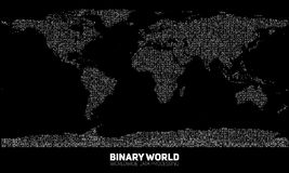 Vector abstract binary world map. Continents constructed from binary numbers. Global information network. Stock Photo