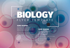 Vector Abstract biology flyer template. With moleculs and virus Royalty Free Stock Photo