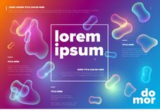 Vector Abstract biology flyer template. With moleculs and virus - horizontal color version stock illustration