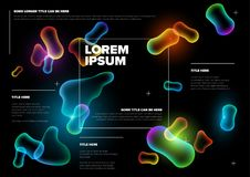 Vector Abstract biology flyer template. With moleculs and virus - horizontal version stock illustration