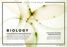 Vector Abstract biology flyer template. With moleculs and virus Royalty Free Stock Photography