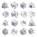 Vector abstract black and white backgrounds set created in isome. Tric mesh lines style. Mechanical scheme, vector engineering drawing with cube and mechanism Royalty Free Stock Photo