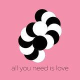 Vector abstract black and white circles shaping a hugging couple in love Stock Photo