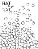 Vector abstract black and white sketch background. Monochrome bubbles pattern. Vector illustration. Space for text. Royalty Free Stock Images