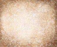 Vector abstract bloemenpatroon op oud document backgr Stock Foto