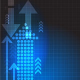 Vector abstract blue background with arrows.  business illustration. Royalty Free Stock Images