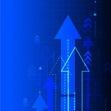 Vector abstract blue background with arrows.  business illustration. Stock Photography
