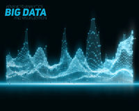 Vector abstract blue big data visualization. Futuristic infographics aesthetic design. Visual information complexity. royalty free stock photography