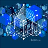 Vector abstract blue black background created in isometric mesh lines style. Mechanical scheme, vector engineering drawing with stock illustration