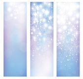 Vector abstract blue bokeh and stars patterns banners. Stock Images