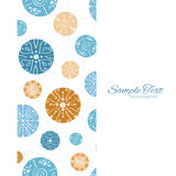 Vector Abstract Blue Brown Vintage Circles Back. Vertical frame seamless pattern background graphic design Stock Image