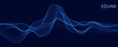 Vector abstract blue digital equalizer with shallow depth of field effect. Vector of sound wave. Glowing points. Signal. Visualization. HUD elements. Waveform vector illustration