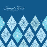Vector abstract blue doodle rhombus horizontal Stock Photos