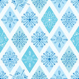 Vector abstract blue doodle rhombus seamless Royalty Free Stock Photography