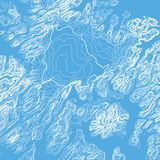Vector abstract blue earth relief map. Generated conceptual elevation map. Isolines of landscape surface elevation. Stock Images