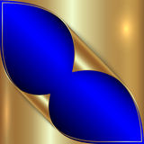 Vector abstract blue and golden metallic Royalty Free Stock Images