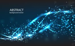 Vector abstract blue motion light effect background. Royalty Free Stock Photo