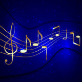 Vector abstract blue musical background with. Gold notes stave and treble clef Stock Photography