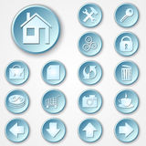 Vector abstract blue round paper icon set Royalty Free Stock Photos