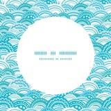 Vector abstract blue waves circle frame seamless Royalty Free Stock Photo