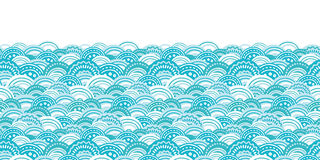 Vector abstract blue waves horizontal border. Seamless pattern background graphic design Royalty Free Stock Image