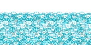 Vector abstract blue waves horizontal border Royalty Free Stock Image