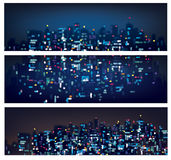 Vector abstract bokeh night city banners. Royalty Free Stock Image