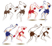 Vector abstract boxers in the ring during the fight. Royalty Free Stock Images
