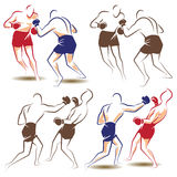 Vector abstract boxers in the ring during the fight. Royalty Free Stock Image
