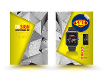 Vector abstract brochure template design with smart watch. Royalty Free Stock Photography
