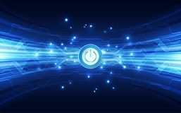 Vector Abstract button power futuristic high digital technology blue color background, illustration web Stock Photos