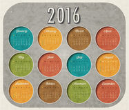 Vector abstract calendar 2016. Retro vintage style calendar design with airplane cartoon illustration. Template for 2016 calendar Stock Photos