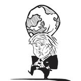 Vector abstract Caricature of Donald Trump with the world at his head royalty free illustration