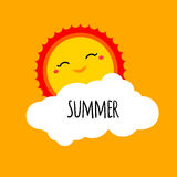 Vector abstract cartoon summer background design concept with ha. Ppy smiley sun, white cloud and hand drawn lettering. Summer holiday design element for summer royalty free illustration