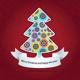Vector abstract christmas background with tree Stock Photos
