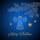 Vector abstract christmas card on blue background. Abstract Christmas card with decoration angel and stars, patterns, and texture of gold on blurred background Stock Photos