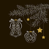 Vector abstract christmas card. Abstract Christmas card with fir branch decoration with glass ball, bell and stars, patterns, and texture of gold on dark Stock Image
