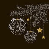 Vector abstract christmas card. Abstract Christmas card with fir branch decoration with glass balls and stars, patterns, and texture of gold on a dark background Royalty Free Stock Images
