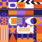 Vector abstract cinema concept. Design elements, pattern and background for movie poster, entrance ticket, flyer. Vector abstract geometric cinema concept Royalty Free Stock Photos