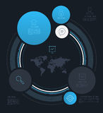 Vector abstract circle info graphics with line icons. Royalty Free Stock Photography