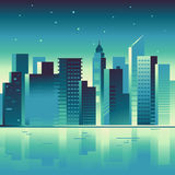 Vector abstract city landscape in bright gradient colors Stock Photos
