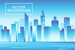 Vector abstract city landscape in bright gradient colors Royalty Free Stock Photo