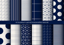 Vector abstract classy navy seamless pattern set. Inclusive of pattern swatch stock illustration