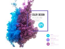 Vector abstract cloud. Ink swirling in water, cloud of ink in water  on white. Abstract banner paints. Holi.  Royalty Free Stock Photos