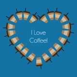 Vector abstract coffee cups shaping a heart. Minimalistic concept, logo for coffee shops Royalty Free Stock Photos
