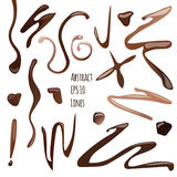 Vector Abstract Collection Of Chocolate or Coffee Lines and Waves, Isolated on White Background Stock Image